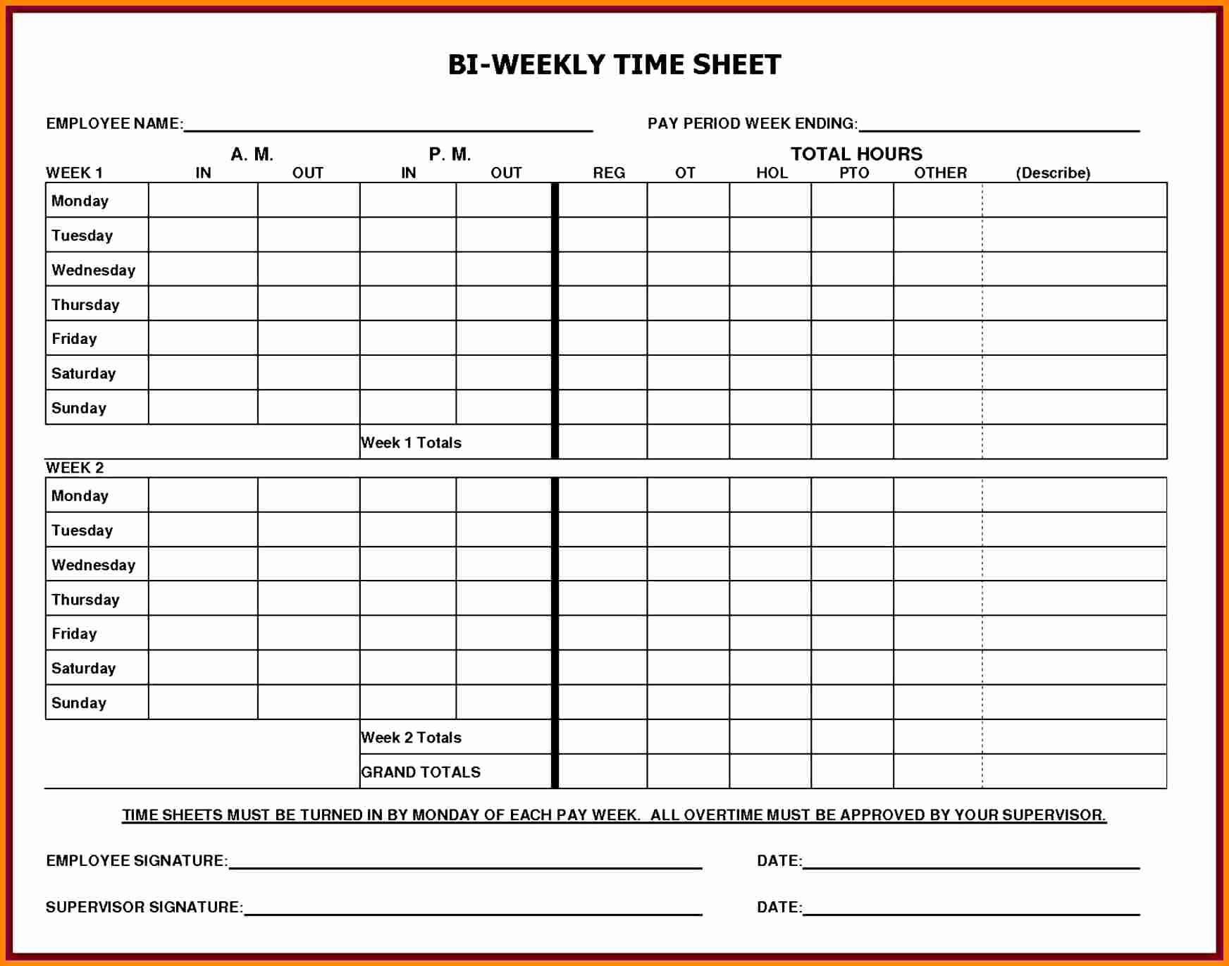 Excel Timesheet Template with formulas and 5 Printable Payroll Sheets