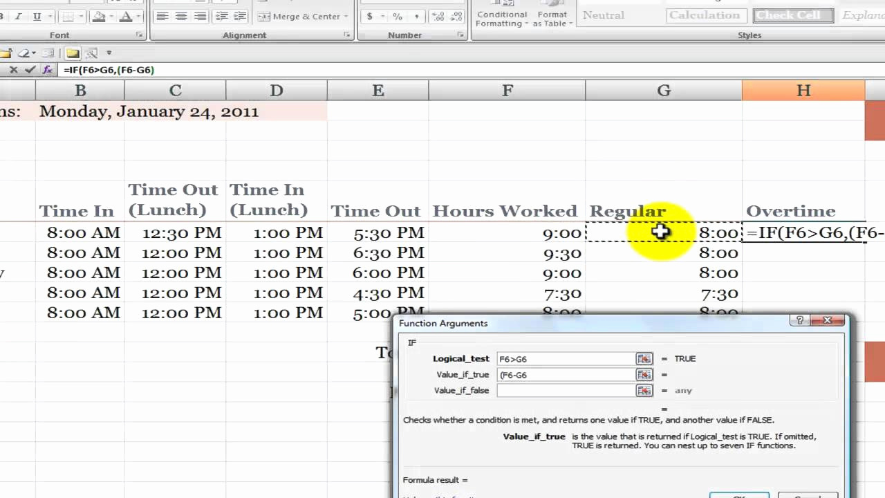 Excel Timesheet Template with formulas for How to Calculate Overtime Hours On A Time Card In Excel