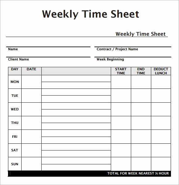 Free Printable Time Sheets and Weekly Employee Timesheet Template Work