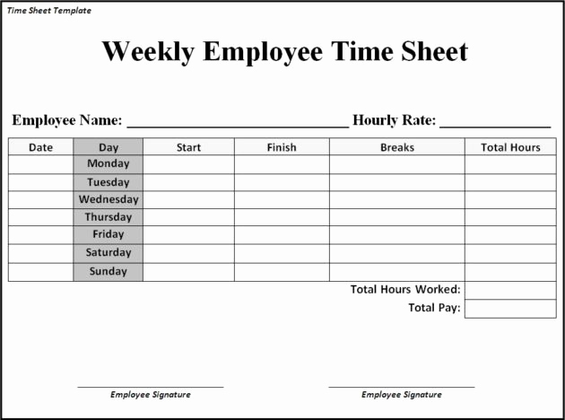 Free Printable Time Sheets Of Time Sheet Templates Free