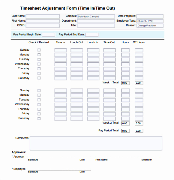 Monthly Timesheet Template Excel and Free 6 Sample Excel Timesheets In Pdf