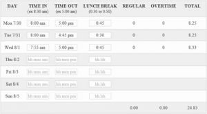 Online Timesheet Calculator Of Easy & Free Time Card Calculator with Lunch Breaks and