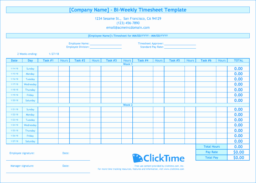 Simple Timesheet Template for Biweekly Timesheet Template Free Excel Templates