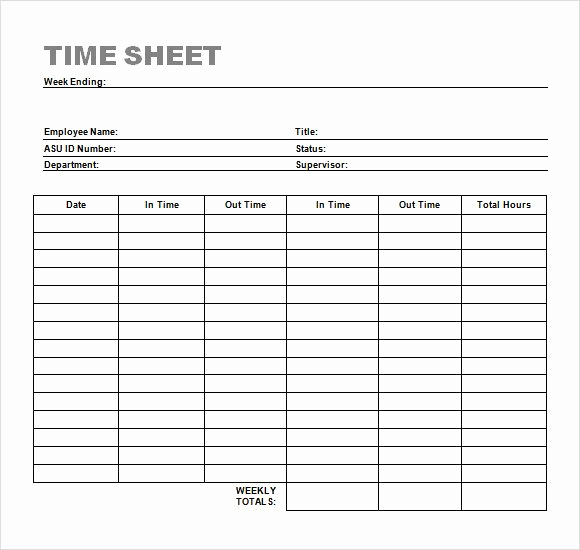 Manual Timesheet Template