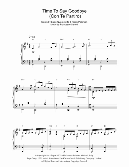 Time to Say Goodbye Sheet Music for Download Time to Say Goodbye Con Te Partiro Sheet Music