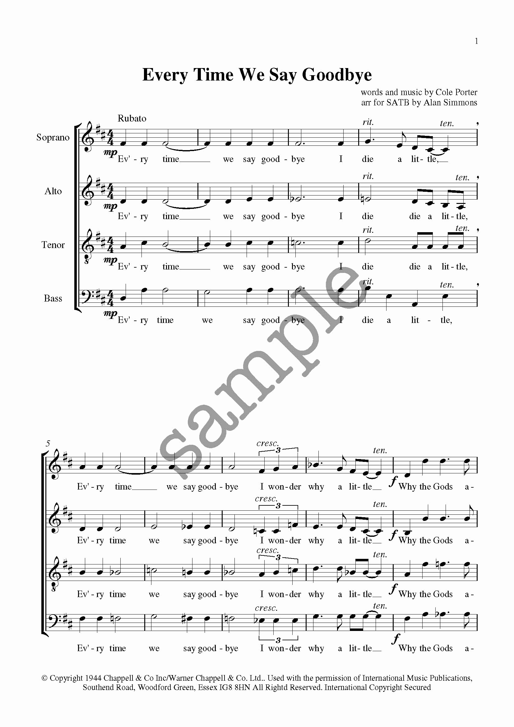 Time to Say Goodbye Sheet Music Of Every Time We Say Goodbye Alan Simmons Music Choral