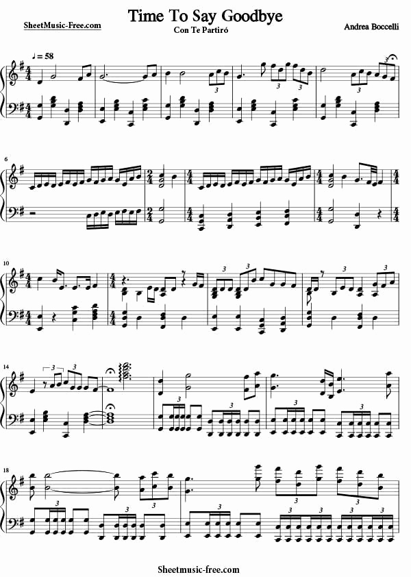 Time to Say Goodbye Sheet Music or Time to Say Goodbye Sheet Music andrea Boccelli Download