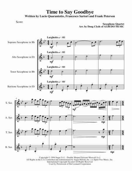 Time to Say Goodbye Sheet Music then Download Time to Say Goodbye for Saxophone Quartet Sheet