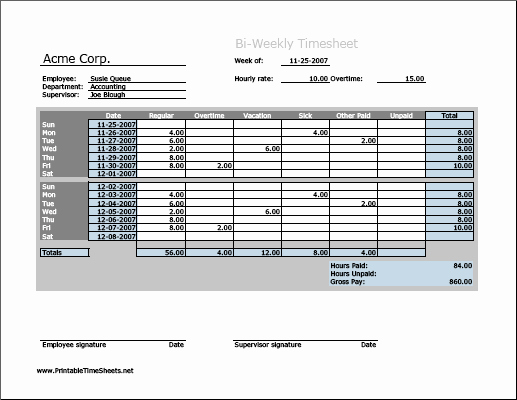 Timesheet for Work Hours and Biweekly Timesheet Horizontal orientation Work Hours
