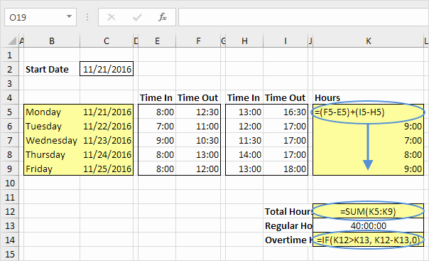 Timesheet for Work Hours and Time Sheet In Excel Easy Excel Tutorial