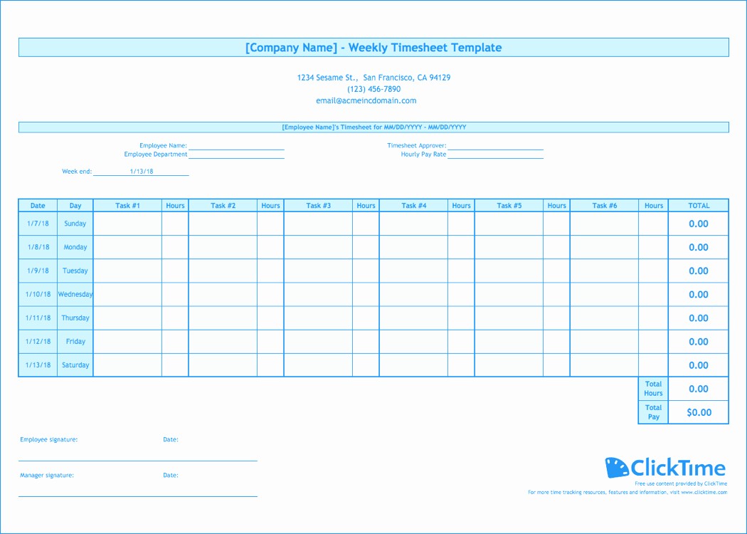 Timesheet Management or Weekly Timesheet Template Free Excel Timesheets