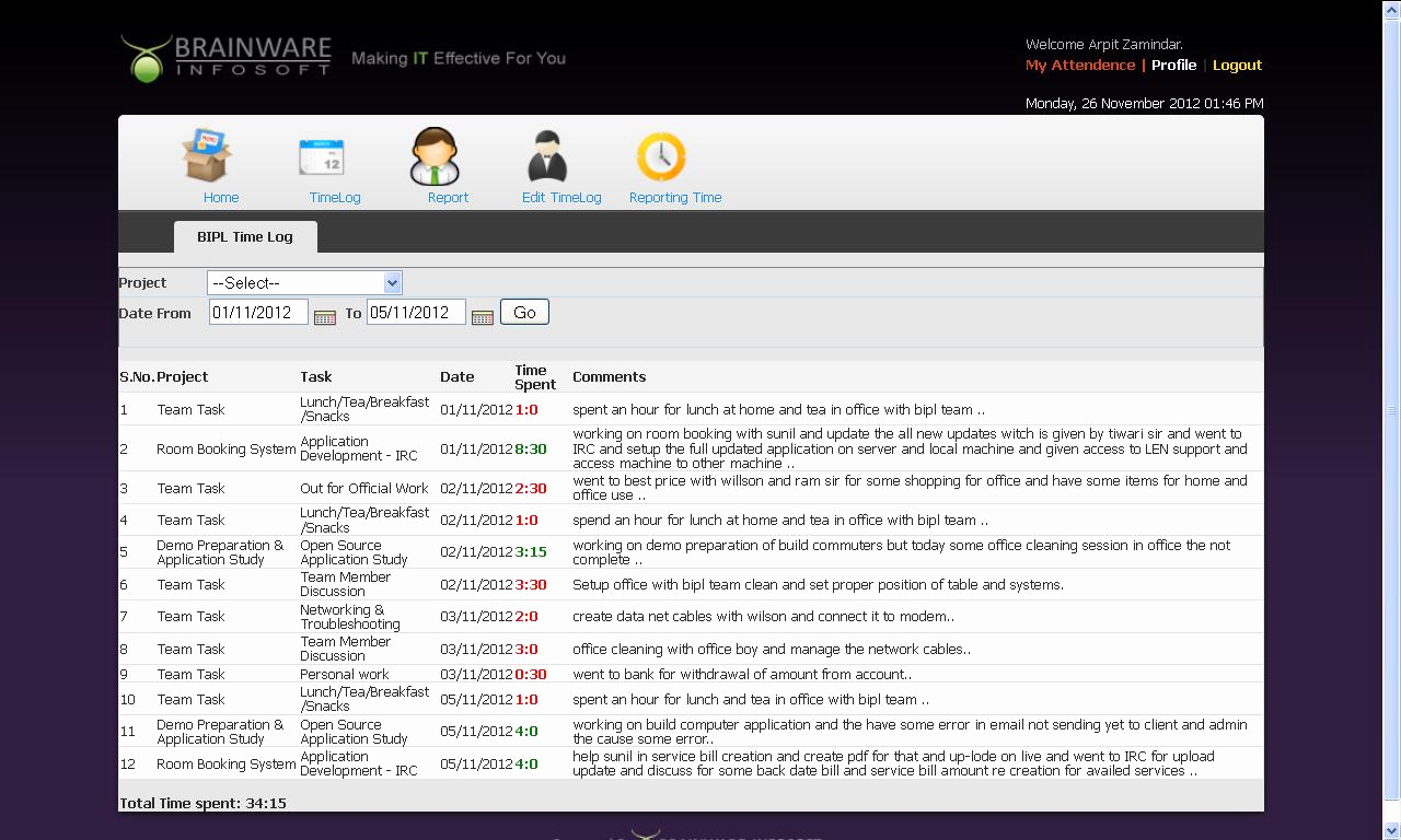 Timesheet Management then Bipl Product Demo