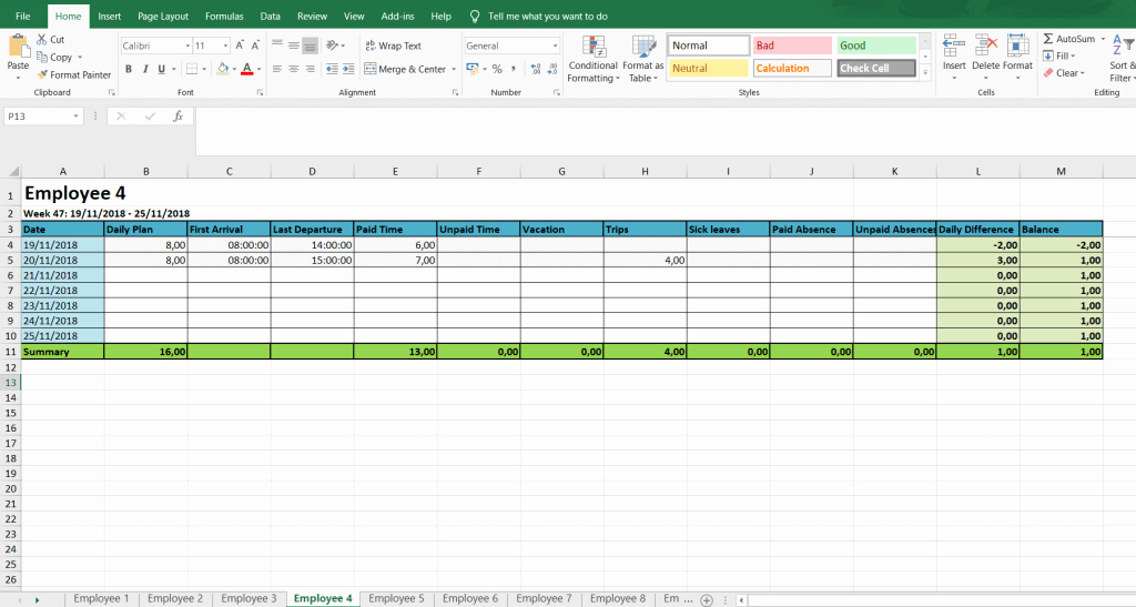 Timesheet Template for Multiple Employees and Monthly and Weekly Timesheets Free Excel Timesheet