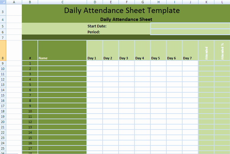 attendance Time Sheet Template