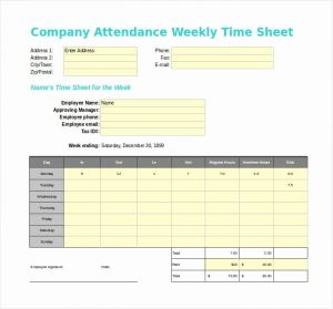 Attendance Time Sheet Template or 60 Sample Timesheet Templates Pdf Doc Excel