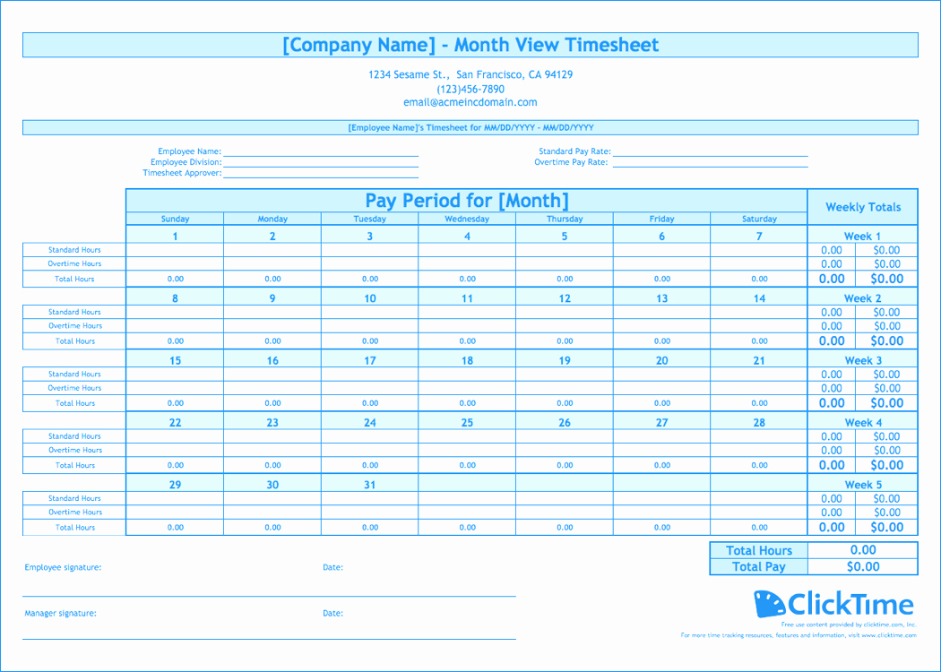 Monthly attendance Sheet with Time In Excel Free Download