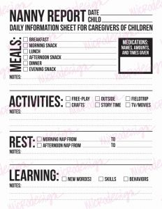 Nanny Timesheet or Nanny Report Daily Information Sheet for Caregivers Of