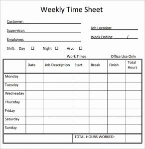 Printable Bi Weekly Time Sheets and Free Printable Weekly Timesheets