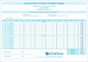 Printable Bi Weekly Time Sheets then Biweekly Timesheet Template Free Excel Templates