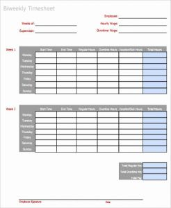 Printable Bi Weekly Time Sheets then Sample Weekly Time Sheet 9 Examples In Word Pdf