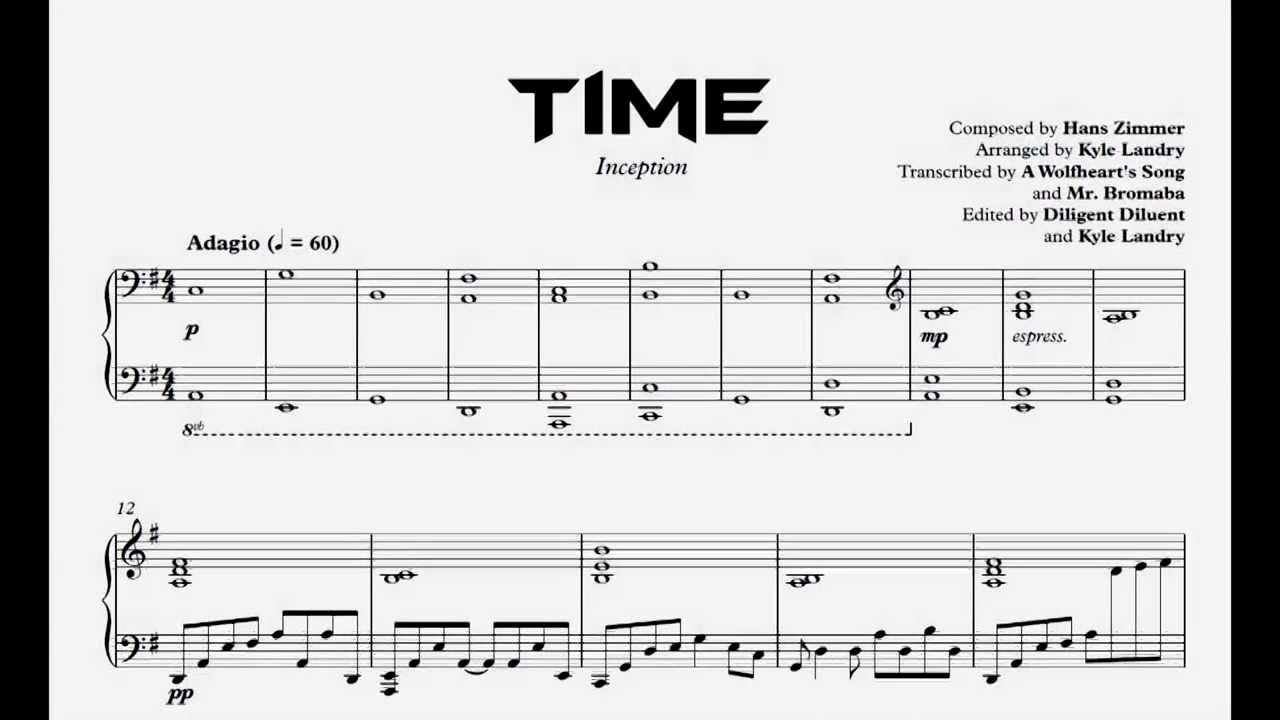 Time Piano Sheet Music