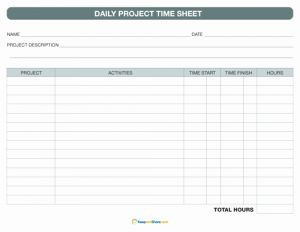 Weekly Project Timesheet for Timesheet Freetemplate