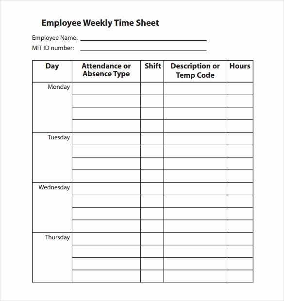 Work Time Sheet Pdf