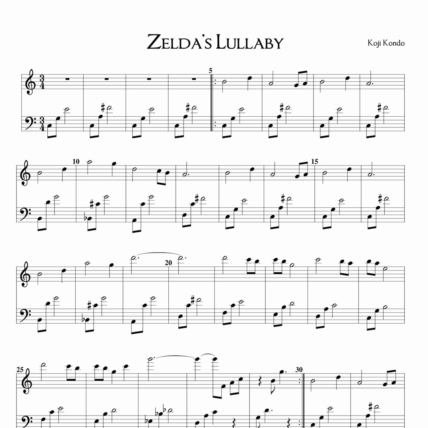 Zelda song Of Time Sheet Music