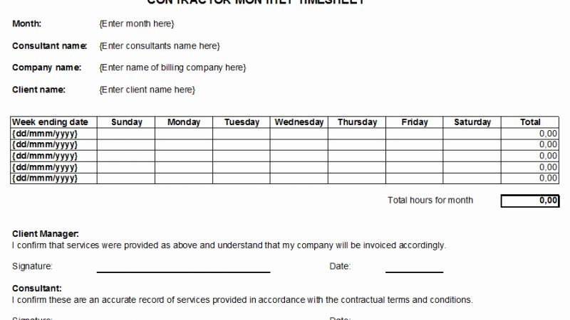 Independent Contractor Timesheet Free Download