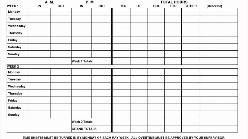 Printable Timesheet Monthly