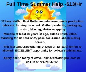 Select Staffing Timesheet Of Unlimited Staffing Full Time Summer Help $13 Hr