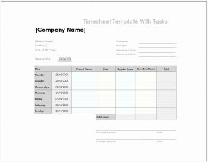 How Do You Create A Timesheet In Excel Of Free 4 Samples Of Excel Timesheet Template with Tasks