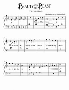 Tale as Old as Time Piano solo Sheet Music for Download Beauty and the Beast for Easy Piano Sheet Music