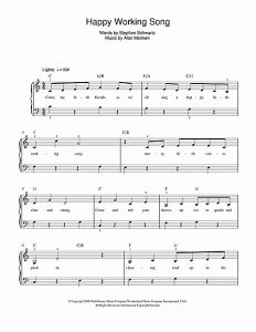 Tale as Old as Time Piano solo Sheet Music or Happy Working song From Enchanted by Alan Menken