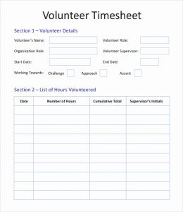 Volunteer Time Sheets Templates and Volunteer Hours Log Template Things that Make You Love and