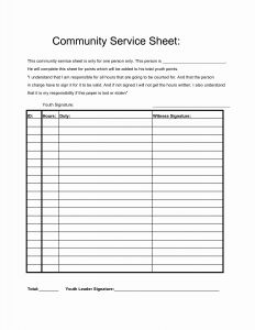 Volunteer Time Sheets Templates for Munity Service Hours Sheet with Images