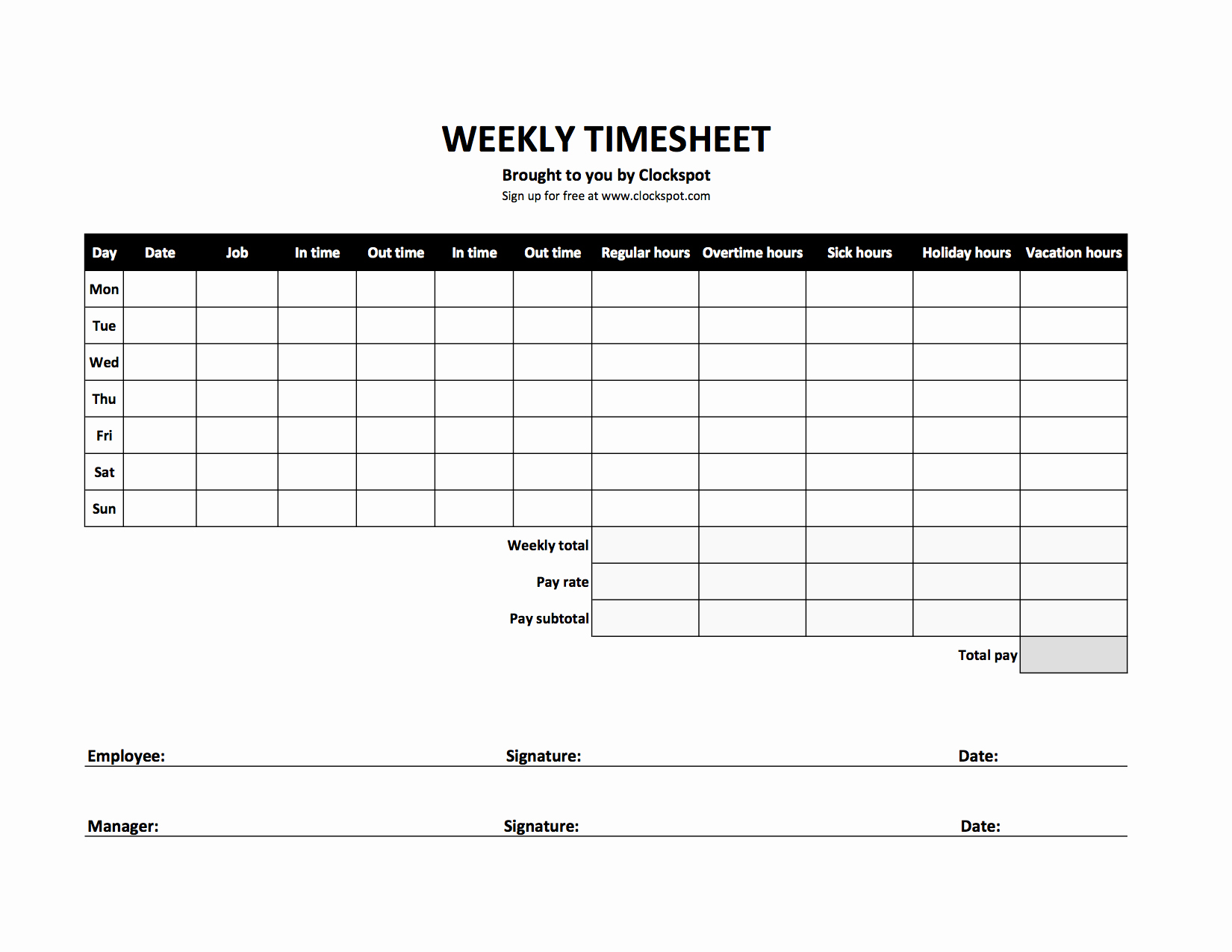 Debt Tracker Timesheet