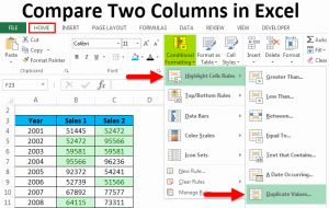 Compare 2 Excel Timesheets or Pare Two Columns In Excel