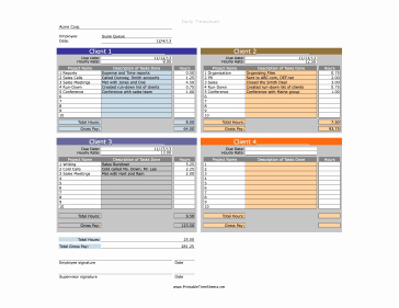 Income Projection Timesheet
