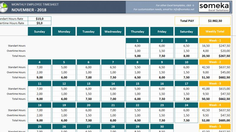 Timesheet for Monthly Expenses