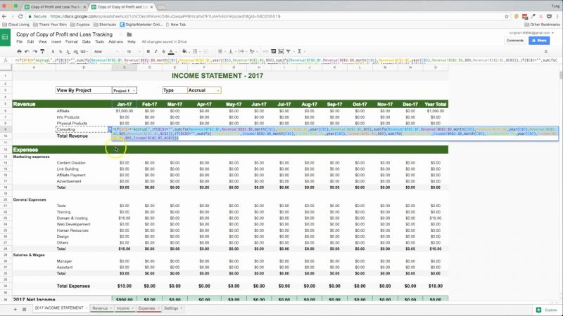 Track Income and Expenses Timesheet