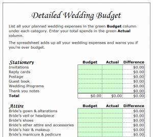 Wedding Expenses List Timesheet for Wedding Bud Planner Template My Excel Templates