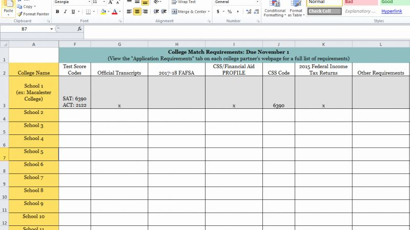College Application Checklist Timesheet