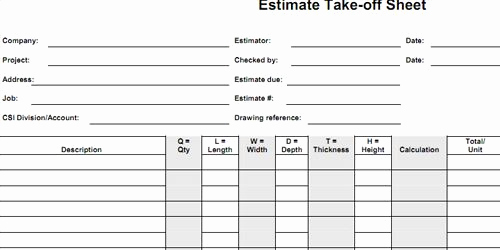 Construction Take Off Timesheets