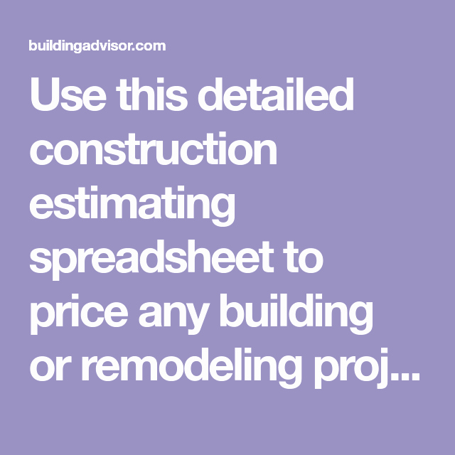 Detailed Construction Cost Estimate Timesheet