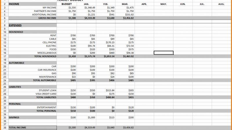 Excel Timesheet for Monthly Expenses
