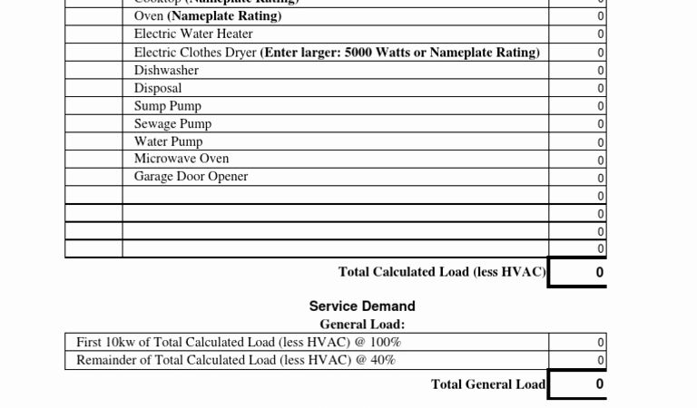 Residential Electrical Load Calculation Timesheet