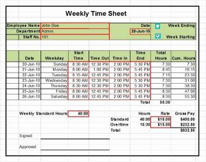Credit Card Budget Timesheet or Excel Timesheet Templates Ready to Use Out Of the Box