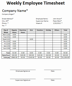 Excel Timesheet Examples Download