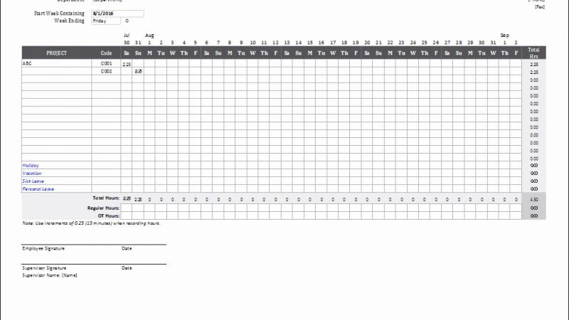 Monthly Bill Timesheet Template Free